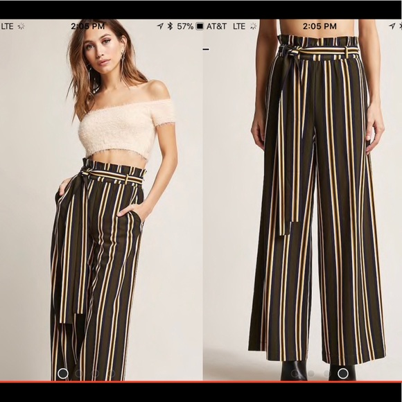 b8bbe012cdd Forever 21 Pants - Forever 21 Palazzo Paper Bag Pants Striped